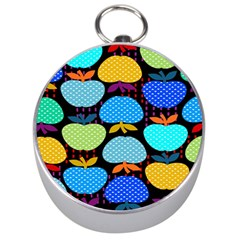 Fruit Apples Color Rainbow Green Blue Yellow Orange Silver Compasses by Alisyart