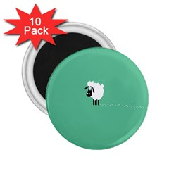 Goat Sheep Green White Animals 2 25  Magnets (10 Pack)  by Alisyart