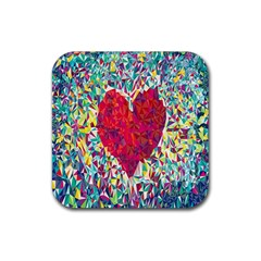 Geometric Heart Diamonds Love Valentine Triangle Color Rubber Square Coaster (4 Pack)  by Alisyart