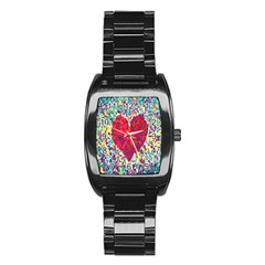 Geometric Heart Diamonds Love Valentine Triangle Color Stainless Steel Barrel Watch by Alisyart