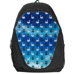 Goose Swan Anchor Blue Backpack Bag by Alisyart