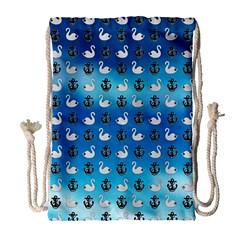 Goose Swan Anchor Blue Drawstring Bag (large) by Alisyart