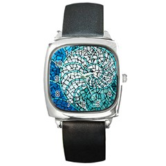 Glass Mosaics Blue Green Square Metal Watch by Alisyart