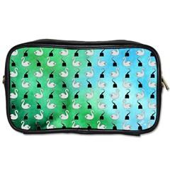 Goose Swan Hook Blue Green Toiletries Bags 2 Side by Alisyart