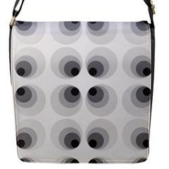 Hole Black Eye Grey Circle Flap Messenger Bag (s) by Alisyart