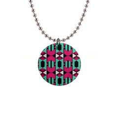 Green Pink Shapes                                 			1  Button Necklace by LalyLauraFLM