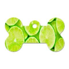 Green Lemon Slices Fruite Dog Tag Bone (two Sides) by Alisyart