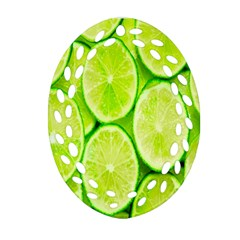 Green Lemon Slices Fruite Oval Filigree Ornament (two Sides) by Alisyart