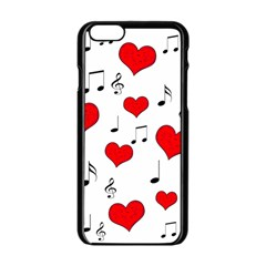 Love Song Pattern Apple Iphone 6/6s Black Enamel Case by Valentinaart