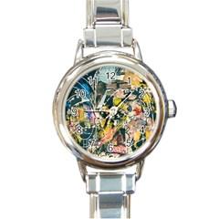 Art Graffiti Abstract Vintage Round Italian Charm Watch by Nexatart