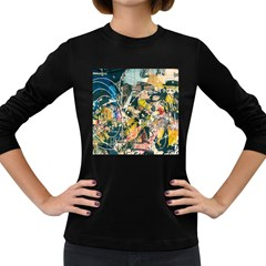 Art Graffiti Abstract Vintage Women s Long Sleeve Dark T Shirts by Nexatart