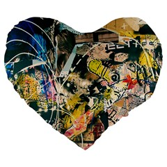 Art Graffiti Abstract Vintage Large 19  Premium Heart Shape Cushions by Nexatart
