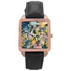 Art Graffiti Abstract Vintage Rose Gold Leather Watch  by Nexatart