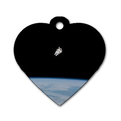 Astronaut Floating Above The Blue Planet Dog Tag Heart (one Side)