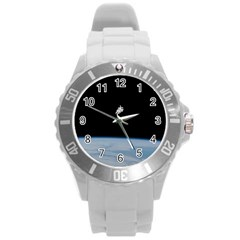 Astronaut Floating Above The Blue Planet Round Plastic Sport Watch (l) by Nexatart
