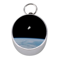 Astronaut Floating Above The Blue Planet Mini Silver Compasses by Nexatart