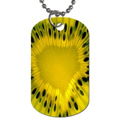 Kiwi Fruit Slices Cut Macro Green Yellow Dog Tag (two Sides) by Alisyart