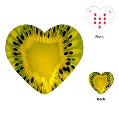 Kiwi Fruit Slices Cut Macro Green Yellow Playing Cards (heart)  by Alisyart