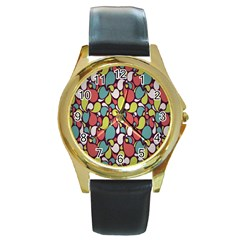 Leaf Camo Color Flower Round Gold Metal Watch by Alisyart