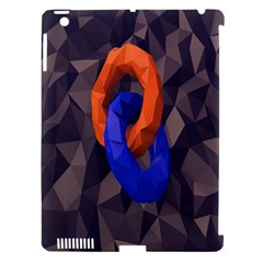 Low Poly Figures Circles Surface Orange Blue Grey Triangle Apple Ipad 3/4 Hardshell Case (compatible With Smart Cover) by Alisyart