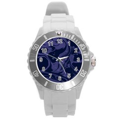 Marble Blue Marbles Round Plastic Sport Watch (l) by Alisyart