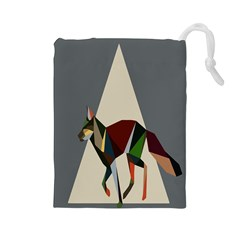 Nature Animals Artwork Geometry Triangle Grey Gray Drawstring Pouches (large)  by Alisyart