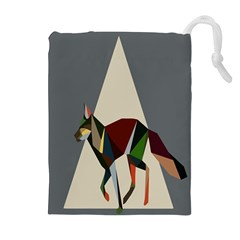 Nature Animals Artwork Geometry Triangle Grey Gray Drawstring Pouches (extra Large) by Alisyart
