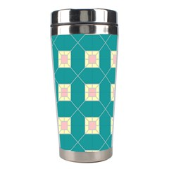 Regular Triangulation Plaid Blue Stainless Steel Travel Tumblers by Alisyart
