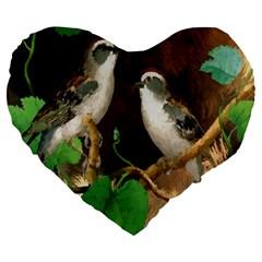 Backdrop Colorful Bird Decoration Large 19  Premium Heart Shape Cushions by Nexatart