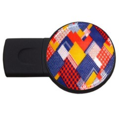 Background Fabric Multicolored Patterns Usb Flash Drive Round (2 Gb) by Nexatart