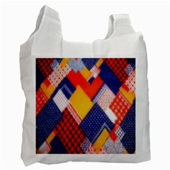 Background Fabric Multicolored Patterns Recycle Bag (one Side) by Nexatart