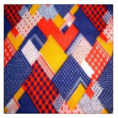 Background Fabric Multicolored Patterns Large Satin Scarf (square) by Nexatart