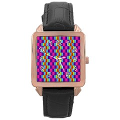 Background For Scrapbooking Or Other Patterned Wood Rose Gold Leather Watch  by Nexatart