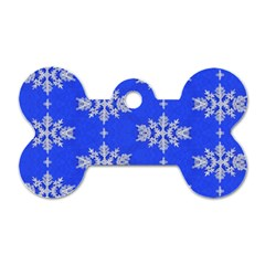 Background For Scrapbooking Or Other Snowflakes Patterns Dog Tag Bone (Two Sides)