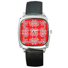 Background For Scrapbooking Or Other Stylized Snowflakes Square Metal Watch by Nexatart