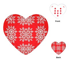 Background For Scrapbooking Or Other Stylized Snowflakes Playing Cards (heart)  by Nexatart