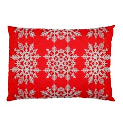 Background For Scrapbooking Or Other Stylized Snowflakes Pillow Case by Nexatart