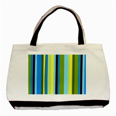 Simple Lines Rainbow Color Blue Green Yellow Black Basic Tote Bag by Alisyart