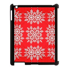 Background For Scrapbooking Or Other Stylized Snowflakes Apple Ipad 3/4 Case (black) by Nexatart