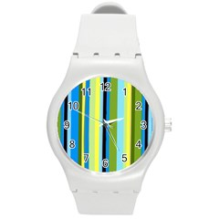 Simple Lines Rainbow Color Blue Green Yellow Black Round Plastic Sport Watch (m) by Alisyart