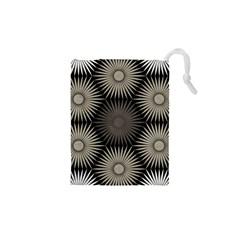 Sunflower Black White Drawstring Pouches (xs)  by Alisyart