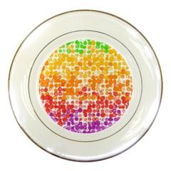Spots Paint Color Green Yellow Pink Purple Porcelain Plates by Alisyart