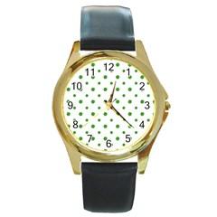Saint Patrick Motif Pattern Round Gold Metal Watch by dflcprints