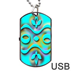 Background Braid Fantasy Blue Dog Tag USB Flash (Two Sides) by Nexatart