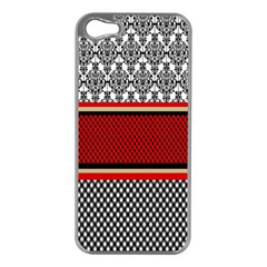 Background Damask Red Black Apple Iphone 5 Case (silver)
