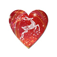 Background Reindeer Christmas Heart Magnet by Nexatart