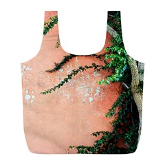 Background Stone Wall Pink Tree Full Print Recycle Bags (l)  by Nexatart