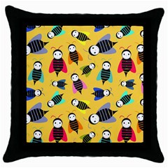 Bees Animal Pattern Throw Pillow Case (Black)