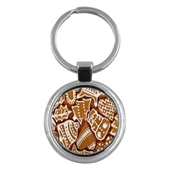 Biscuit Brown Christmas Cookie Key Chains (Round)  by Nexatart