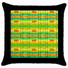 Birds Beach Sun Abstract Pattern Throw Pillow Case (Black)